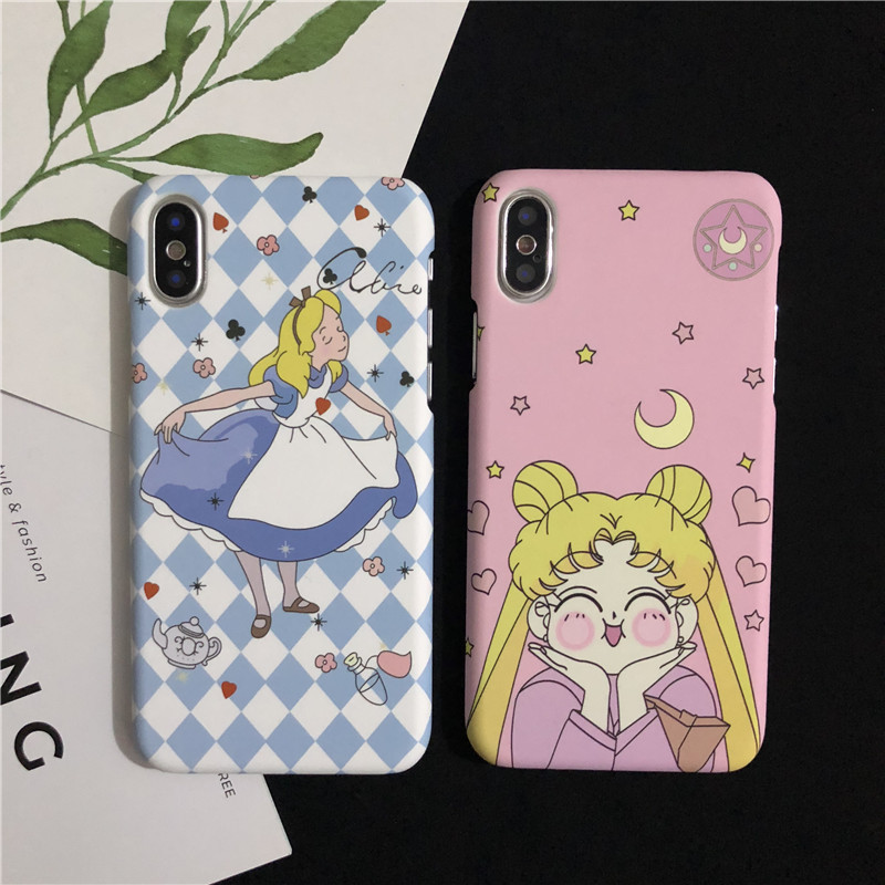 Stylish Sailor Moon Alice IMD Phone Case Matte PC Hard Half Cover Pink Casing For iPhoneX 8 6s 7plus Skinny Shell Protection