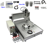 2200W 4 Axis CNC Machinery 2.2KW USB Milling Machine 6040 with 14 Drills Bits 2 ER11 Chuck