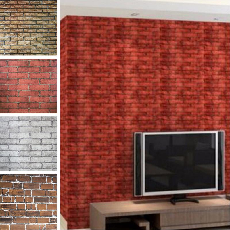 Cheap faux brick wall 1 wall decal for Cheap brick wallpaper