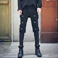 Homens novos calça casual rua hip hop do punk projeto botões dos homens slim fit calças compridas masculino desfile de moda calça