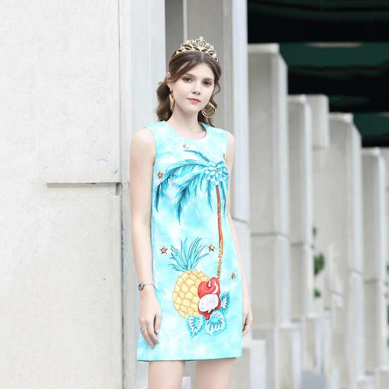 Высокое качество 2019 сезон: весна–лето женское платье дизайнер сладкие фрукты печать шею свободная талия Жаккардовые Дамы слово платье