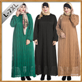 2017 mujeres de la manera de encaje musulmán dress hollow out de manga larga linterna más tamaño 7xl mujeres abaya islámico islam ropa