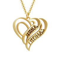 Personalized 3D Heart Necklace three colors silver gold rose gold custom name pendent necklace birthday gift 925 sterling silver