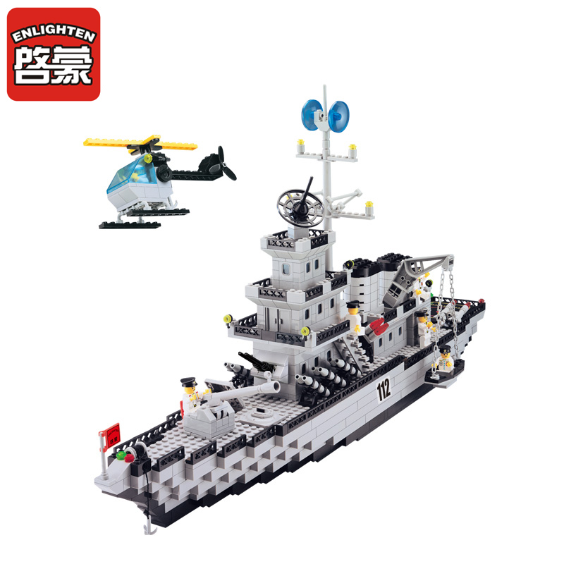 970 pcs Toy Building Block Define Iluminai Crianças Babelove Exército Navio Modelo Blocos Brinquedo Bloco brinquedo Para O Aniversário Das Crianças