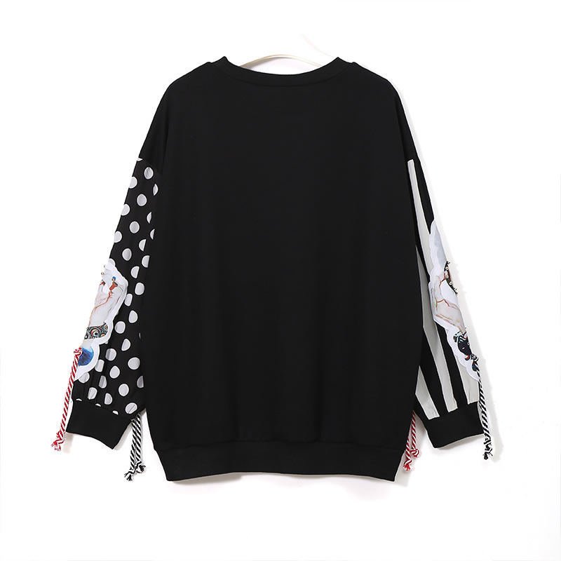 Image 2 - XITAO Black Long Sleeve Sweatshirts Women Patchwork Print Tassel 