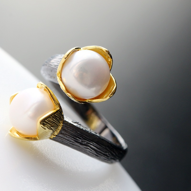 925 sterling silver mustard Silver female fashion opening ring Handmade with natural pearl ring red snake fashion ring handmade dark blue with silver foil pearl texture glossiness murano glass rings