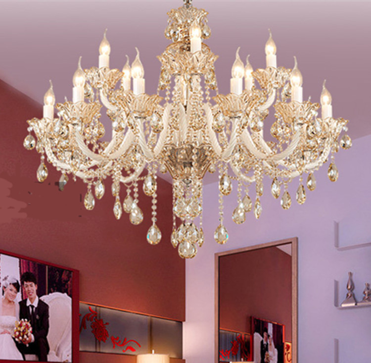 Crystal Chandelier Candle Holder: Roman style white candle holder chandeliers led wedding crystal chandelier  luxury crystal lamps bedroom hotel hanging,Lighting