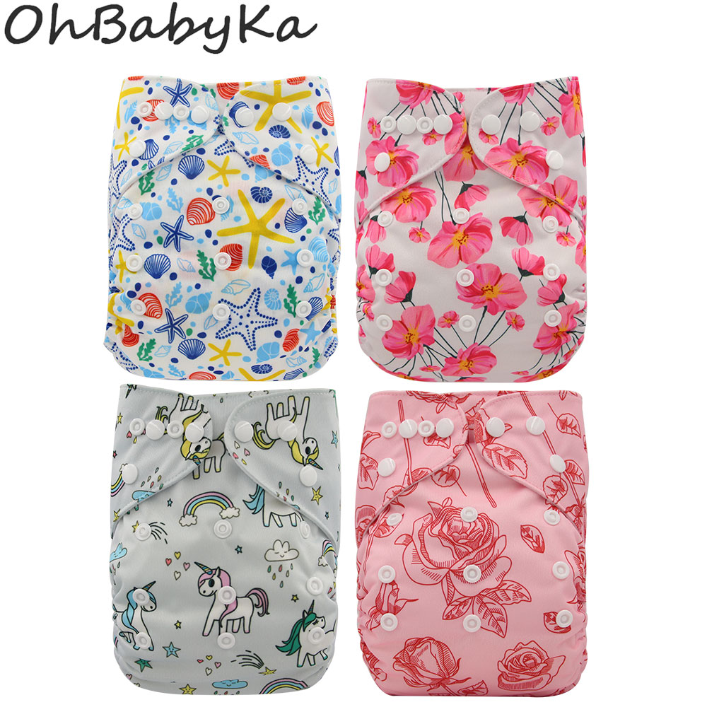 Ohbabyka Baby Reusable Diapers Washable Pocket Cloth Diaper Covers Size Adjusted Baby Toilet Training Pants Infant Baby Nappy