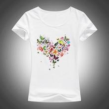 Летняя женская футболка в форме сердца с красочными бабочками, красивая летняя хлопковая Футболка с принтом, брендовые Модные топы в стиле Харадзюку