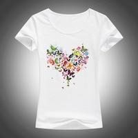 2017 Summer Heart Shape Colorful Butterfly T Shirt Women Beautiful Spring Summer Shirt Brand Fashion Shirt