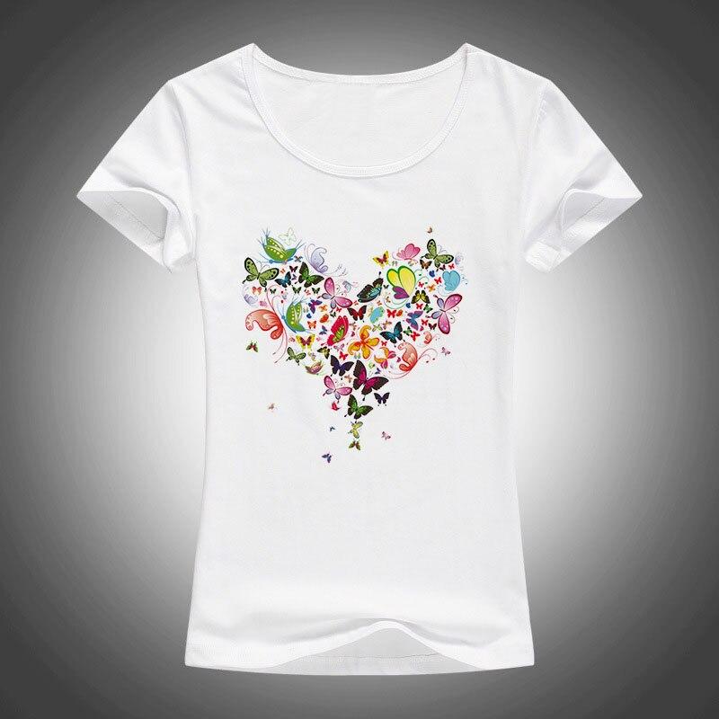 2017 summer Heart shape colorful butterfly t shirt women beautiful spring summer shirt brand fashion shirt cool tops F05
