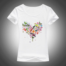 2017 summer Heart shape colorful butterfly t shirt women beautiful spring brand fashion cool tops F05