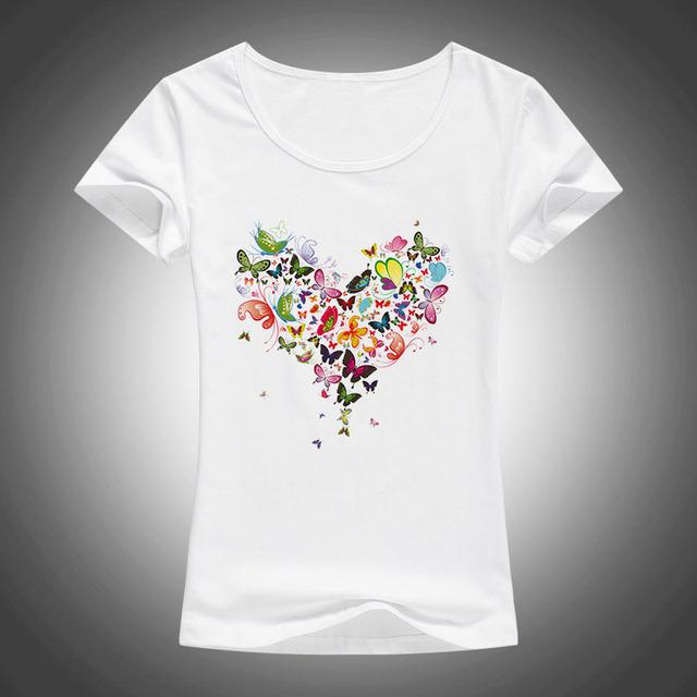 Fashion Colorful Butterflies Heart Printed Women's T-Shirt
