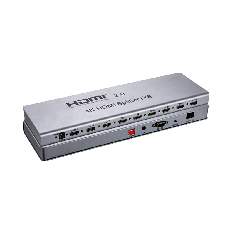 Latest HDMI Splitter 8 Port HDMI Splitter 2.0 1 In 8 Out HDMI Switch Switcher distributor HDCP2.2 4K IR Extension EDID RS232 ...