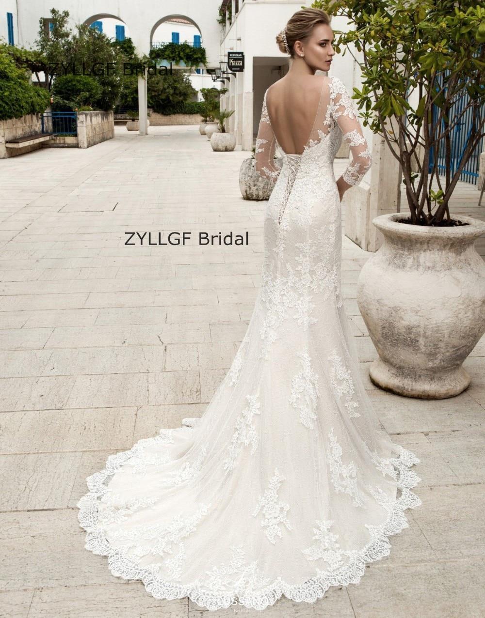 ZYLLGF Bridal Sexy Low Back Boat Neck Wedding Dress Mermaid Lace Corset  Wedding Gown Long Sleeve Vestido De Novias 2017 TN183 In Wedding Dresses  From ...