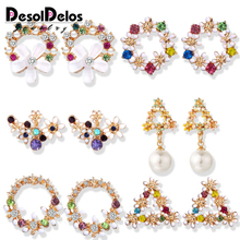 Korean Cute Flower Earrings For Women Geometric Rhinestone Drip Pearl Stud Earrings Girls Jewelry Christmas Gift Party 2019 New a suit of cute rhinestone geometric earrings for women