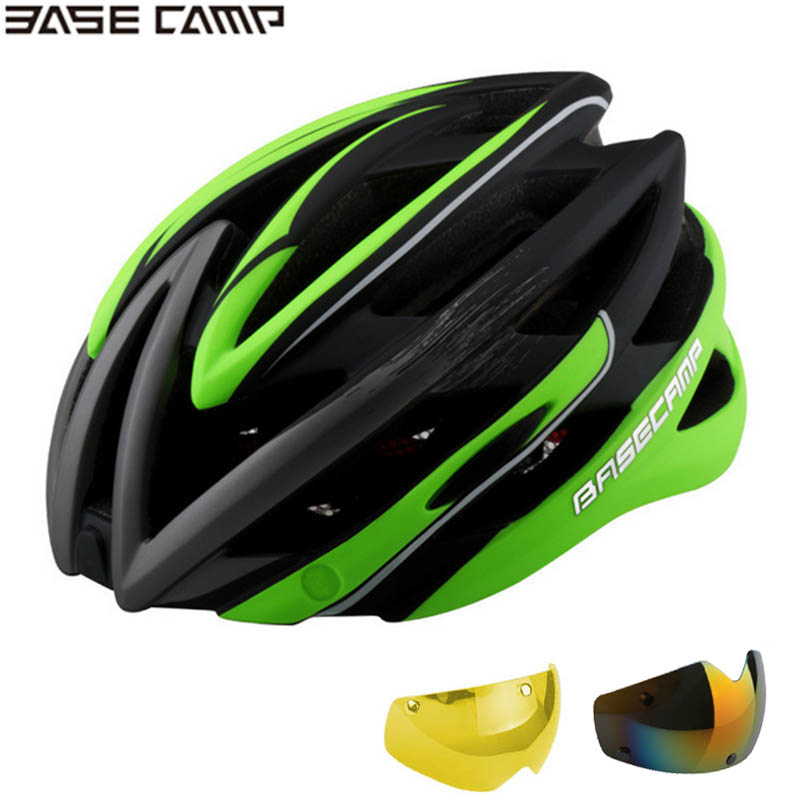 Cycling Sports Helmet Magnetic Fusion Goggles Sunglasses Helmet Skiing Safety Bicycle Bike Helmet BASECAMP 3 lens Optional