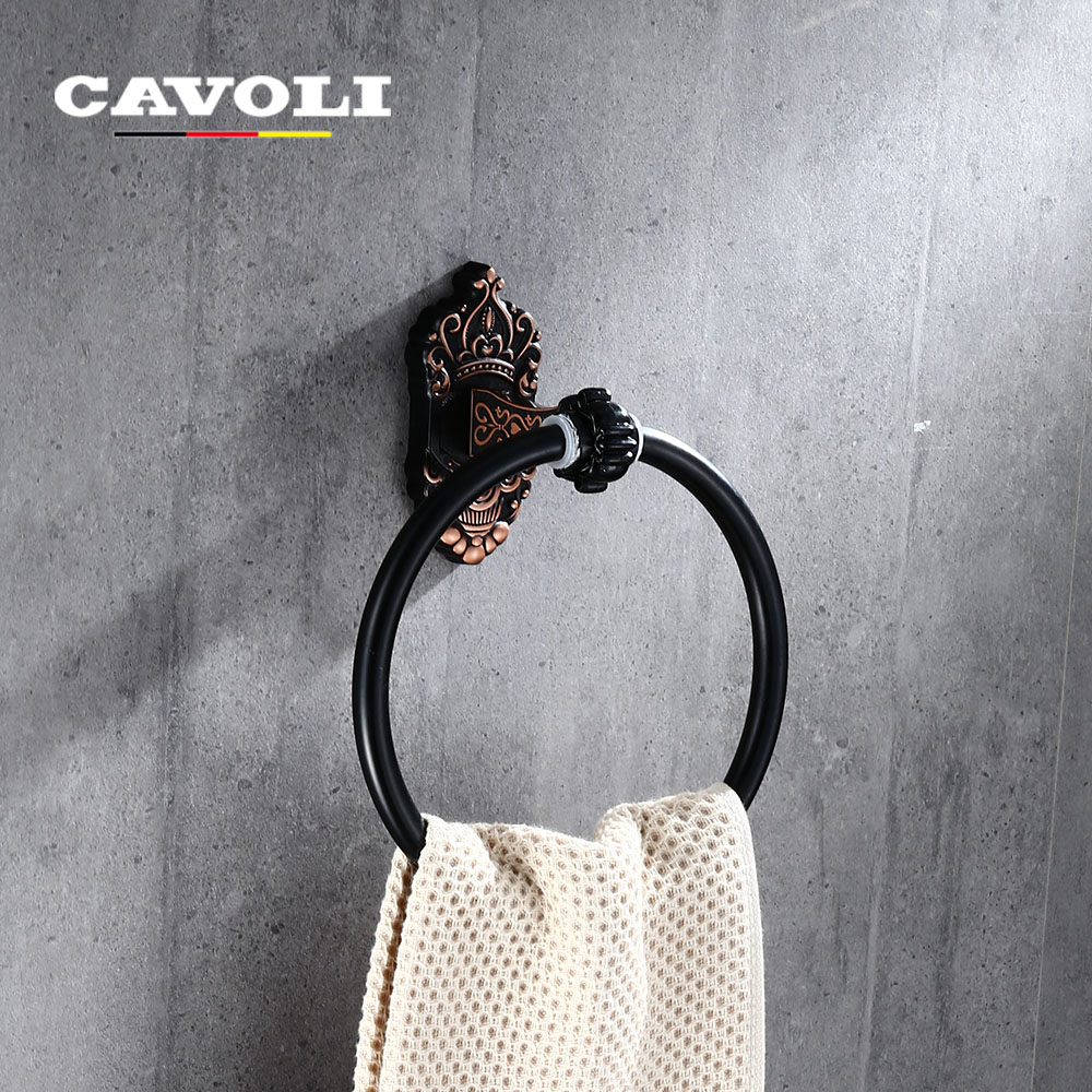 Cavoli stainless steel black chrome ring wall mount towel - Black and chrome bathroom accessories ...
