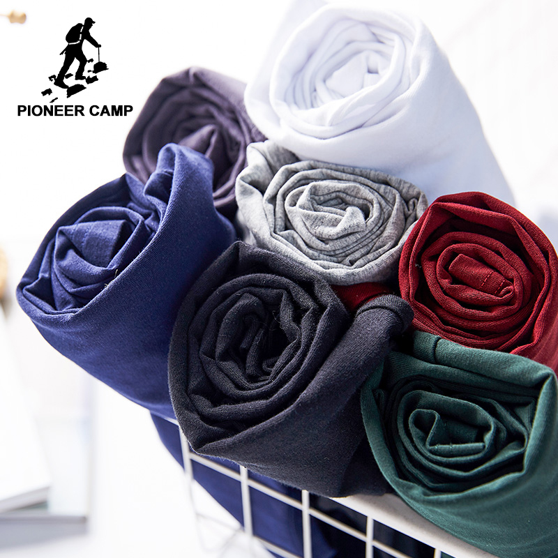 Pioneer Camp new classic solid long sleeve   t     shirt   men brand clothing casual slim fit quality cotton stretch male   t  -  shirt   209008