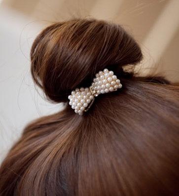 Fashion Style Cute Hair Ornaments Imitation Pearl Bowknot Elastic hair bands Hair Accessories hairbands hair rope for girls