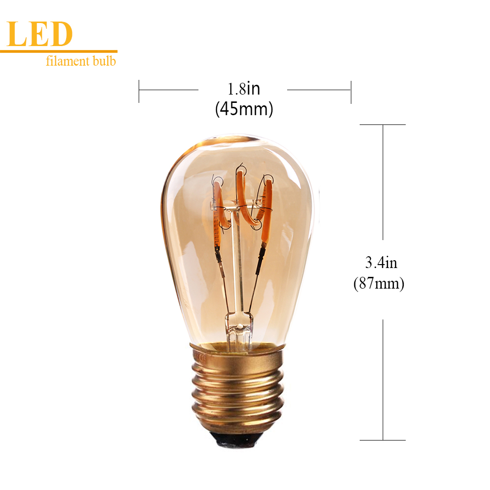 Grensk S14 Vintage Light Bulbs Led Spiral Globe Glass E27 Led Amber Dimmable 2200K Decorative Light 30W Equivalent Lamp Ampoule