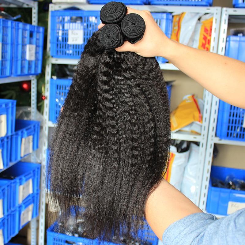 Kinky Straight Hair Brazilian Virgin Hair Weave Bundles Coarse Yaki 100% Human Hair Bundles Ever Beauty Hair Products Extensions