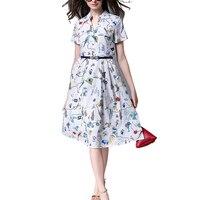 Summer T Shirt Dresses Women Bird Floral Print Belt V Neck Shorts Sleeve Office Brief Dress
