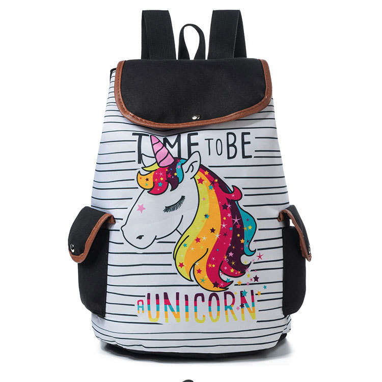Cartoon Unicorn Printed School Backpack For Teenager Drawstring Deisgn Female Travel Rucksack Canvas Backpack Lady
