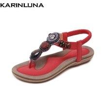 Karinluna diseño de la marca de las mujeres banda elástica sólida zapatos de cuentas de cadena mujer de moda casual sandalias de verano rojo grande tamaño 35-45