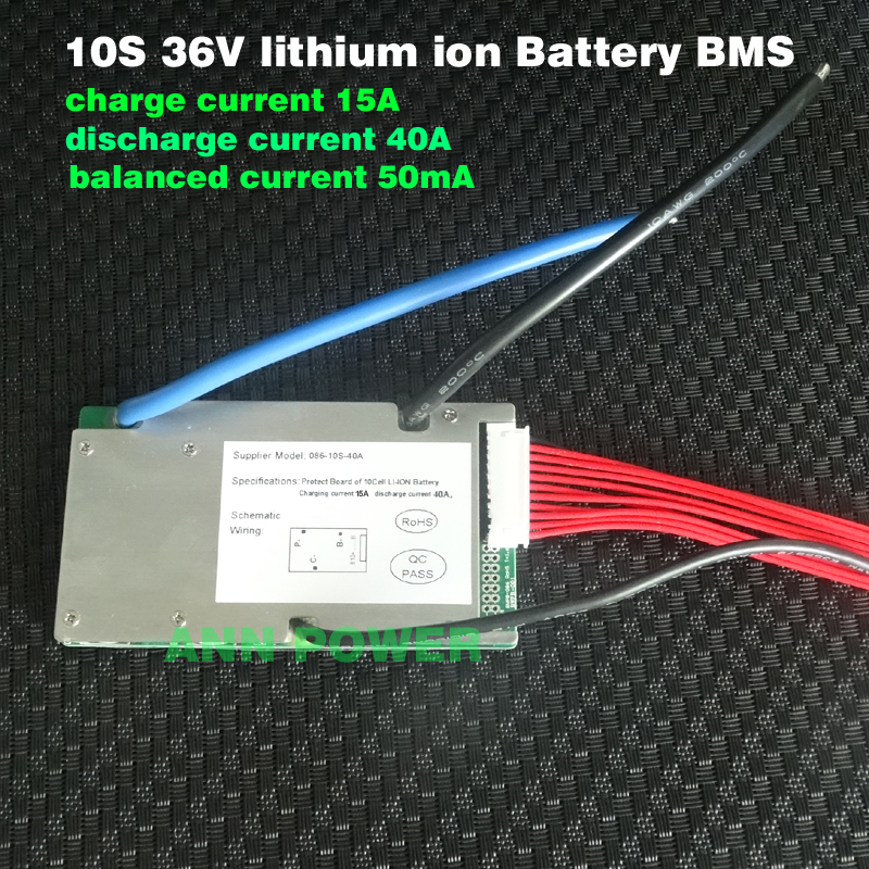 E-bike 36V Lithium Ion Battery BMS 3.7V Cell 10S 36V/37V 40A BMS With Balance Function Different Charge And Discharge Port