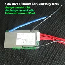 E bike 36 V batterie lithium ion BMS 3.7 V cellule 10 S 36 V/37 V 40A BMS avec fonction déquilibrage port de charge et de décharge différent