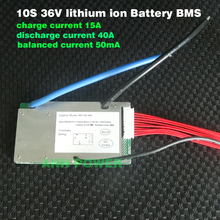 E bike 36V lithium ion battery BMS 3.7V cell 10S 36V/37V 40A BMS with balance function Different charge and discharge port