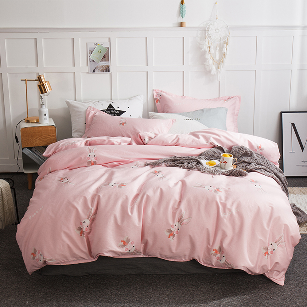 2018 Cute Rabbits Pink Bed Cover Cotton Bedding Sets Flat ...