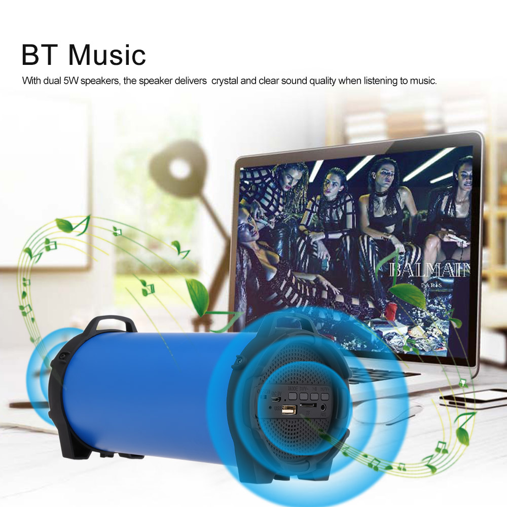 Wireless Bluetooth Speaker Outdoor Soundbox 10W Stereo Bass Subwoofer Support FM Radio TF U Drive AUX IN w/ Mic Webbing Strap