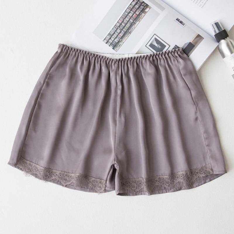 2018 Plus Size Satin Kitten Silky Elastic Waist Women Men Home Sleep Tracksuit Bottom Short Pants Pajama Nightwear Shorts 1