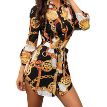 New Print Ladies Dress Sexy Nightclub Lace Short Dress Bend Hem Chain Print Belt Casual Shirt Dress Variety Optional