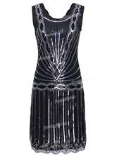 PrettyGuide Mujeres 1920 s Vintage Art Deco Inspirado Gran Gatsby Flapper Lentejuela Cocktail Party Dress