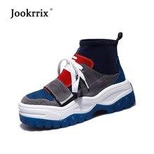 Jookrrix/Женская обувь из искусственной кожи, модные брендовые высокие кроссовки, chaussure, осенние женские дышащие черные туфли для девочек