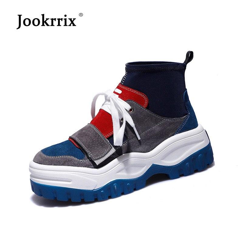 Jookrrix Pu zapatos de cuero de las mujeres marca de moda de alta arriba zapatillas de deporte señora chaussure otoño calzado transpirable Niña Zapatos negro