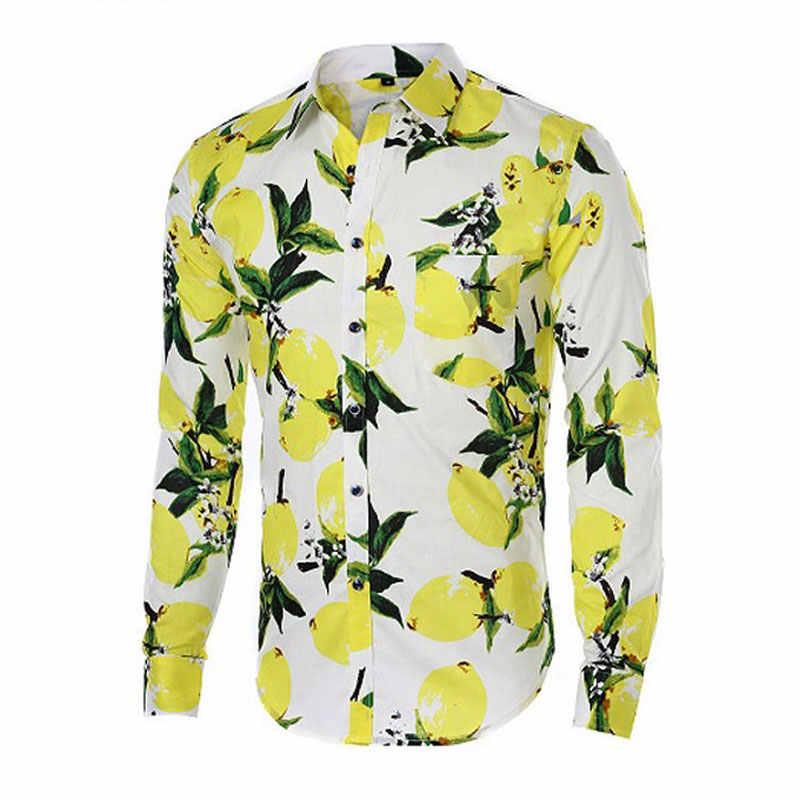 JeeToo/2018 весенние мужские рубашки с цветочным принтом, отложной воротник, хлопковая гавайская рубашка с длинными рукавами, брендовая повседневная одежда большого размера, 3XL