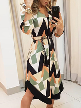 2019 Summer Women Elegant Leisure Midi Shirt Party Dress Ladies Slim Fit Colorblock Geo Print Asymmetrical Casual Dress geo print twist front dress