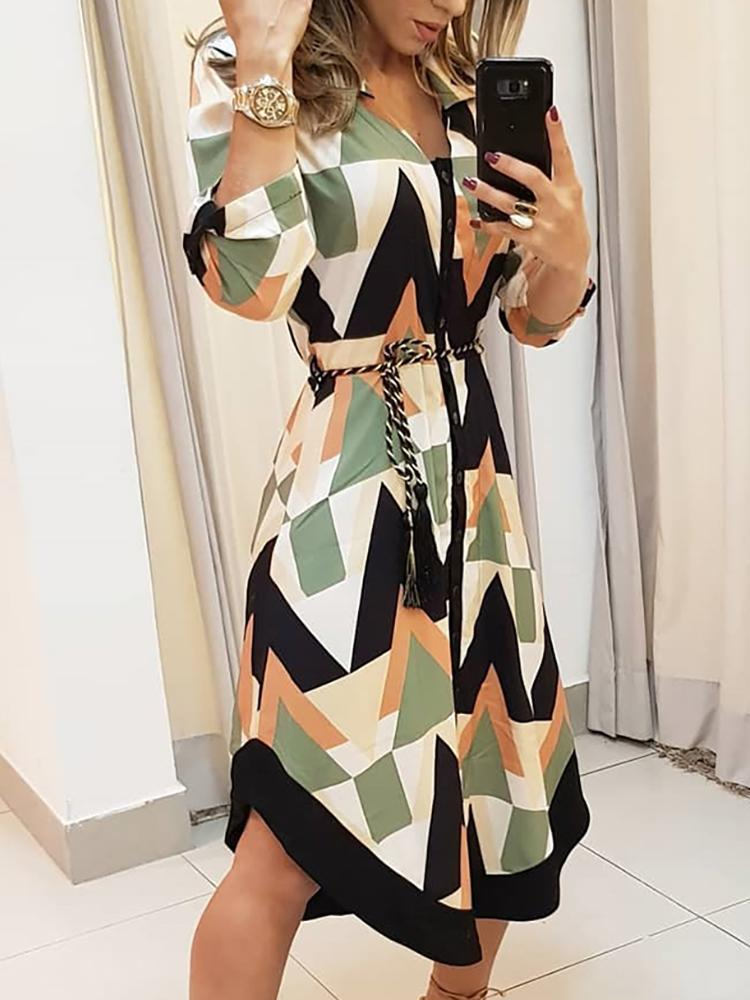 2019 Summer Women Elegant Leisure Midi Shirt Party Dress Ladies Slim Fit Colorblock Geo Print Asymmetrical Casual Dress