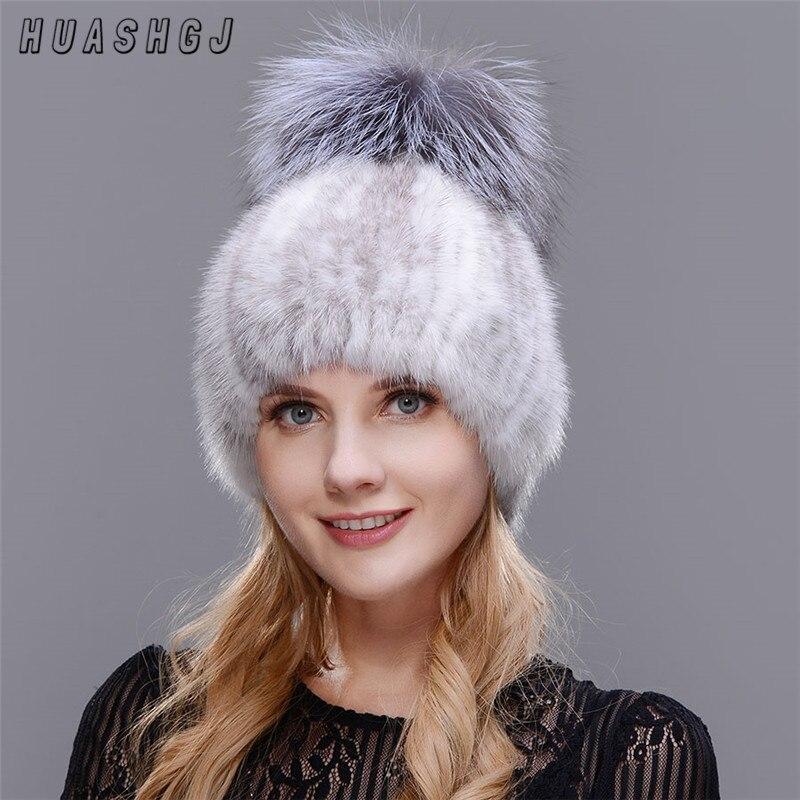 1ce102089f8d2 HUASHGJ New Fur Hat Ladies Thick Warm Ears Fashion Warm Elegant Winter Hat  Three Ball Black ...