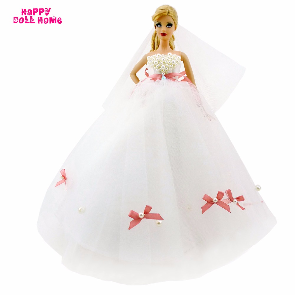 Gorgeous DIY Handmade Wedding Dress With Copy Pearl Beads Bridal Veil Bowknot Gown Princess Clothes For Barbie Doll FR Toy Gift hatber optimum barbie the pearl princess 20627