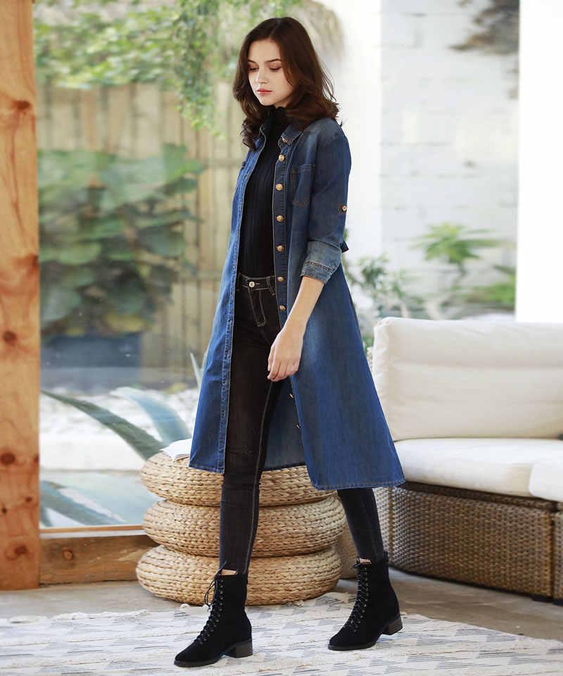 HEE GRAND длинное джинсовое пальто для женщин Весна 2019 джинсовые куртки тонкая уличная верхняя одежда осенние кардиганы женские WWJ955