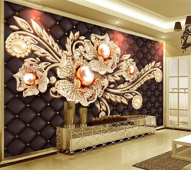 Beibehang Custom Wallpaper Living Room Bedroom Mural Black Simple Jewelry Diamond European Style TV Background 3d