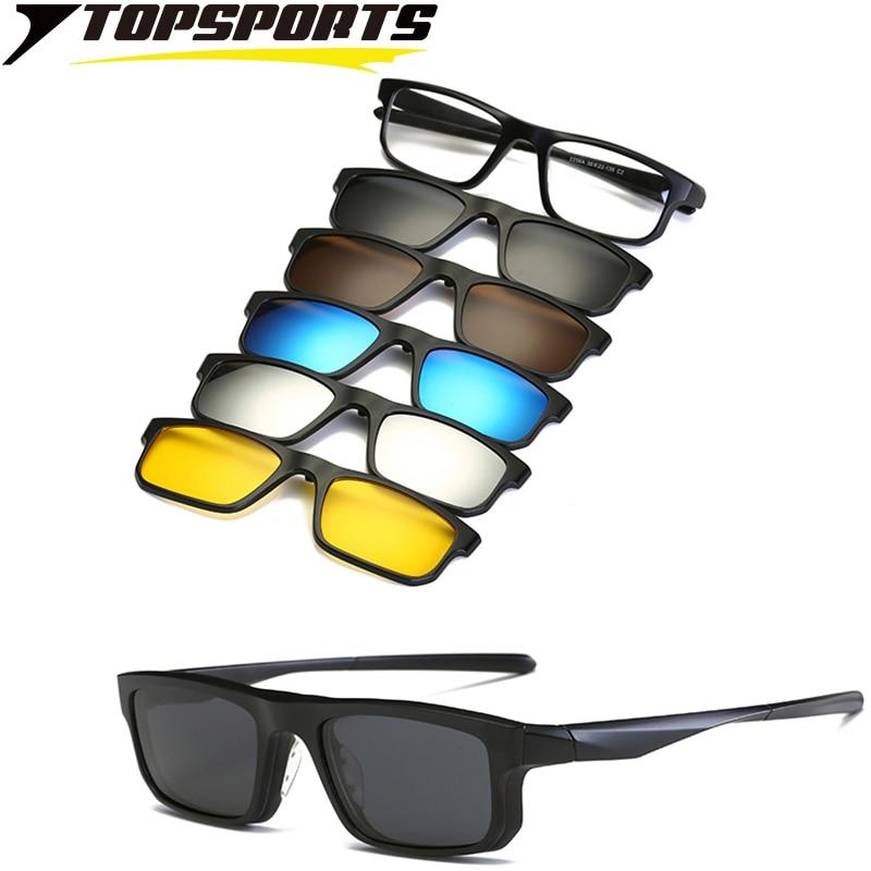 TOPSPORTS 5 lens Polarized Clip On Sunglasses Men optical myopia frame Glasses square lens driving Magnetic