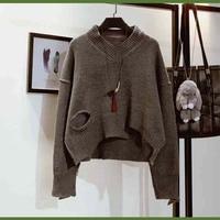 נשים חדשות סוודר להאריך ימים יותר סוודרים V צוואר Ripped חורי צבע אחיד רופף אופנה חמודה מקרית לסרוג סתיו חורף zsh17081902