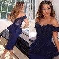 Navy Blue Off the Shoulder Robe de Cocktail Party Dresses 2017 Aabic Mermaid Tea Length Short Prom Dress Robe De Soiree
