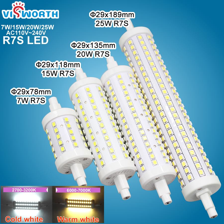 7W 15W 20W 25W <font><b>R7S</b></font> <font><b>Led</b></font> Bulb 78MM 118MM <font><b>135MM</b></font> 189MM SMD2835 360 Degree Corn Light Ac 110V 220V <font><b>Leds</b></font> Bulb Replace Halogen Lamp image